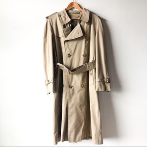 Burberry Men Vintage Tan Classic Long Trench Coat